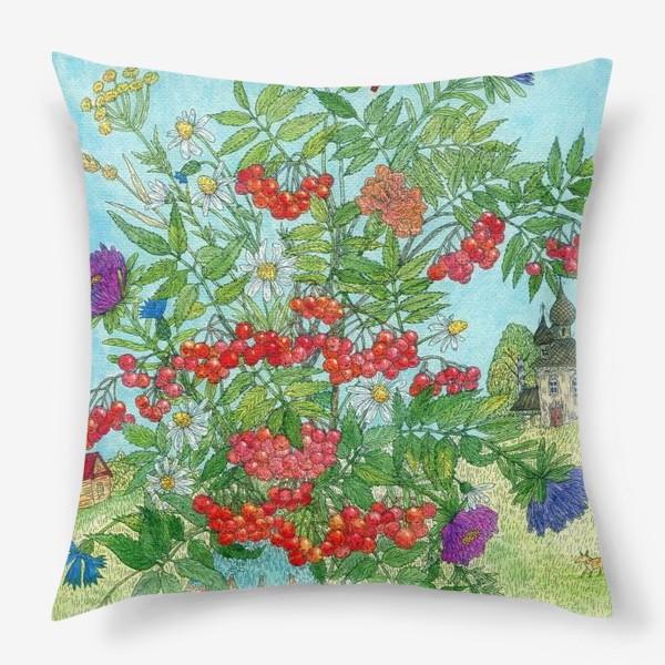 Подушка «Август. Букет рябины и цветов»