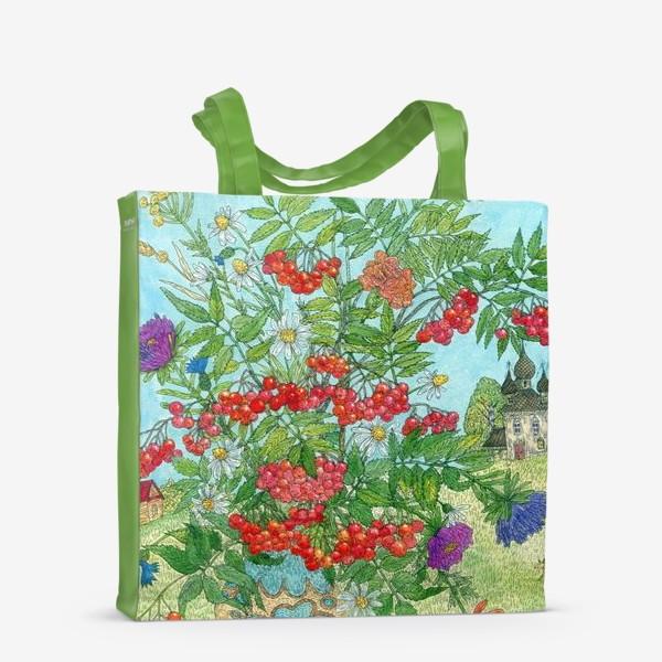 Сумка-шоппер «Август. Букет рябины и цветов»