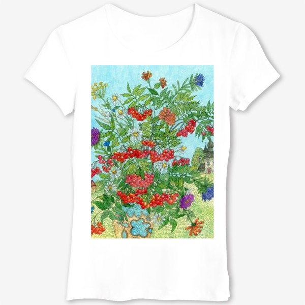 Футболка «Август. Букет рябины и цветов»