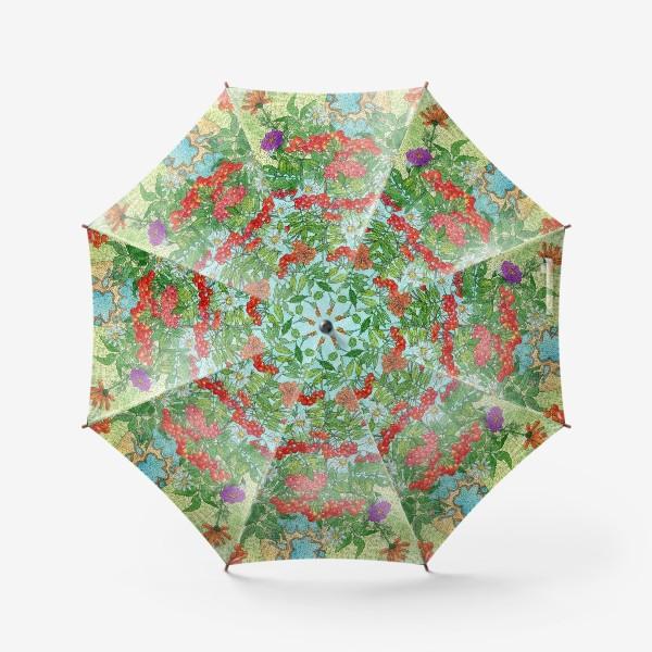 Зонт «Август. Букет рябины и цветов»