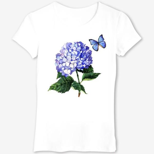 Футболка «Голубая гортензия и бабочка»