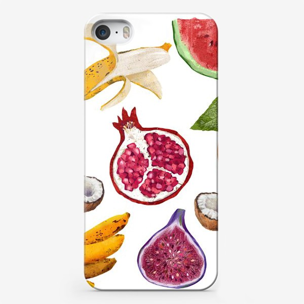 Чехол iPhone «Фрукты и ягоды. Арбуз, инжир, абрикос, банан, гранат, яблоко, слива, кокос, лимон»