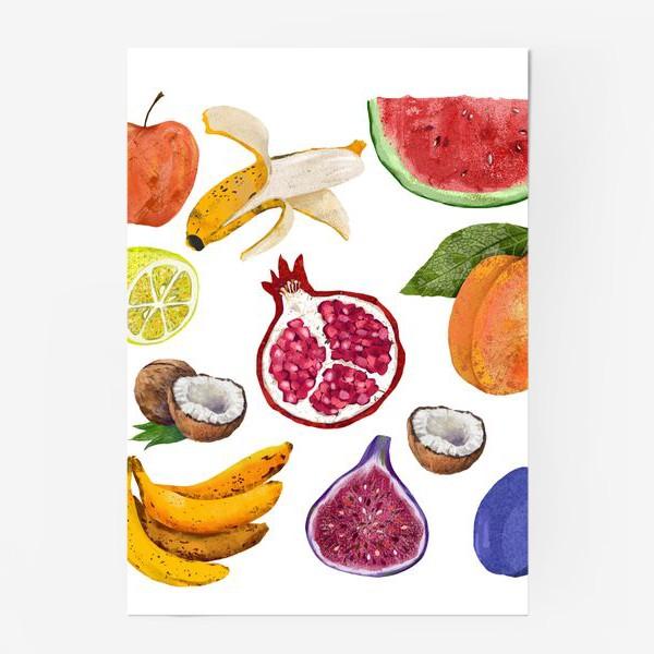 Постер «Фрукты и ягоды. Арбуз, инжир, абрикос, банан, гранат, яблоко, слива, кокос, лимон»