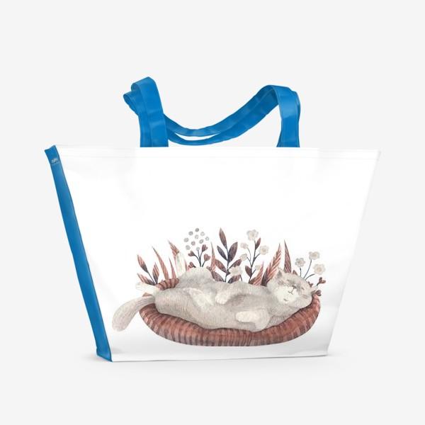 Пляжная сумка «Спящий котик»