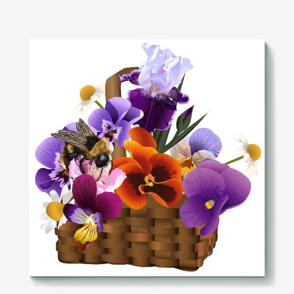 Холст «Корзинка с цветами»