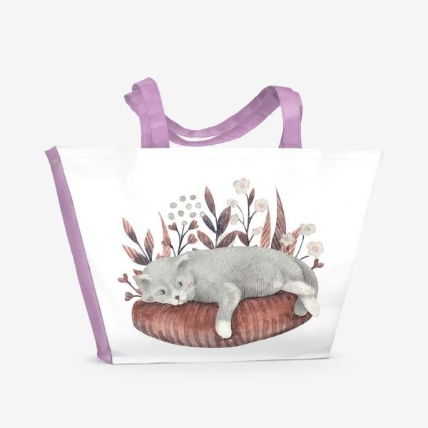 Пляжная сумка «Отдыхающий котик»