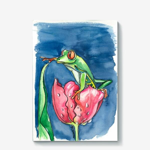 Холст «Лягушка и тюльпан»