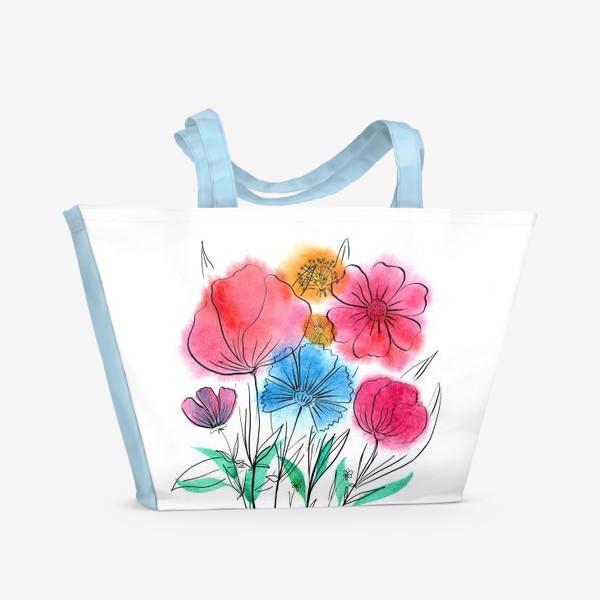 Пляжная сумка «Букет с васильком»