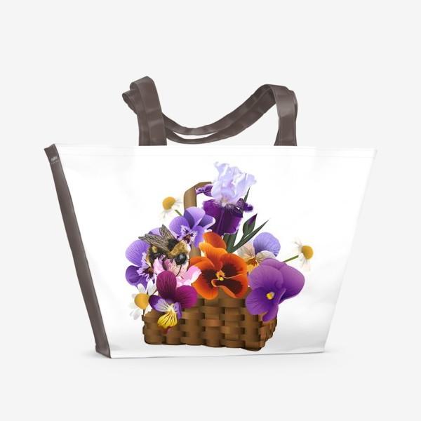 Пляжная сумка «Корзинка с цветами»