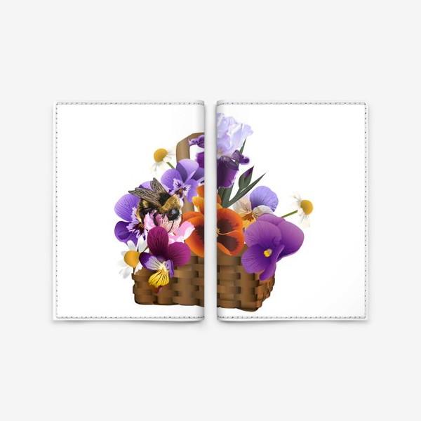 Обложка для паспорта «Корзинка с цветами»