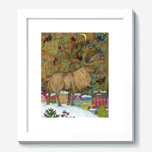 Картина «Сказочный олень в старом городе»