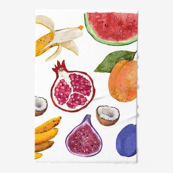Полотенце «Фрукты и ягоды. Арбуз, инжир, абрикос, банан, гранат, яблоко, слива, кокос, лимон»