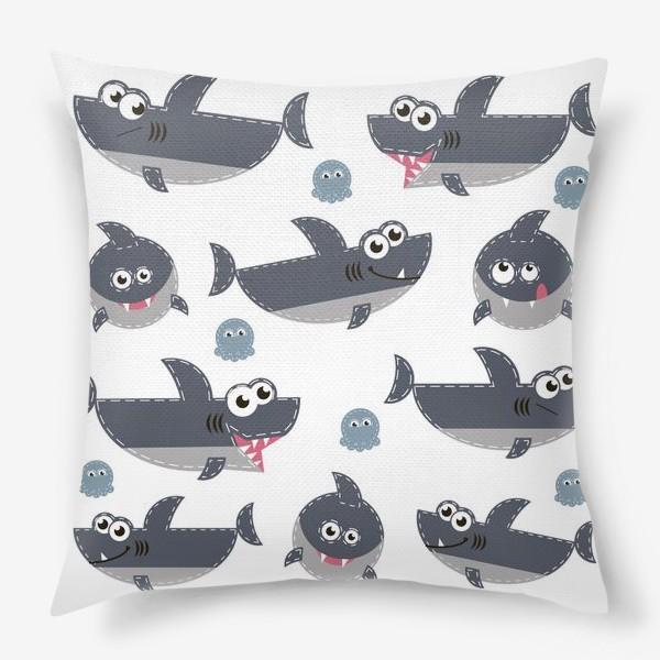 Подушка «Акулы веселые и забавные»