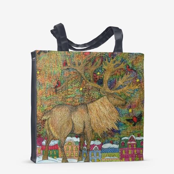 Сумка-шоппер «Сказочный олень в старом городе»