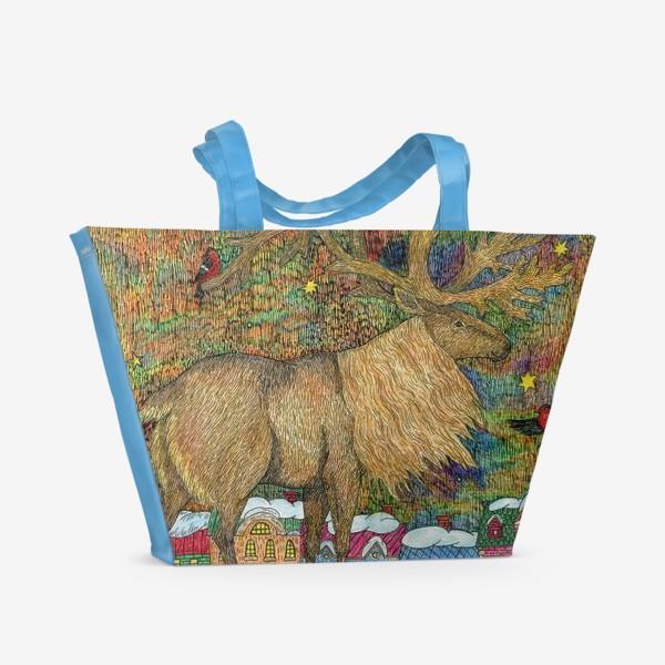 Пляжная сумка «Сказочный олень в старом городе»