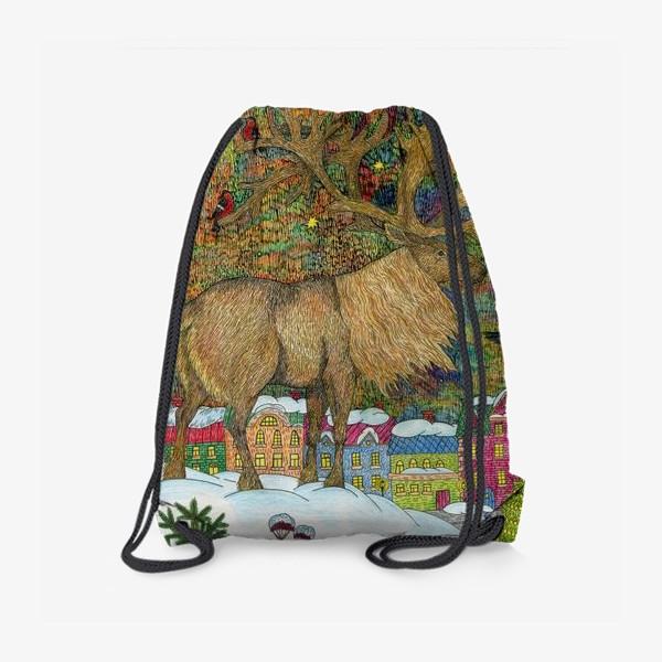 Рюкзак «Сказочный олень в старом городе»