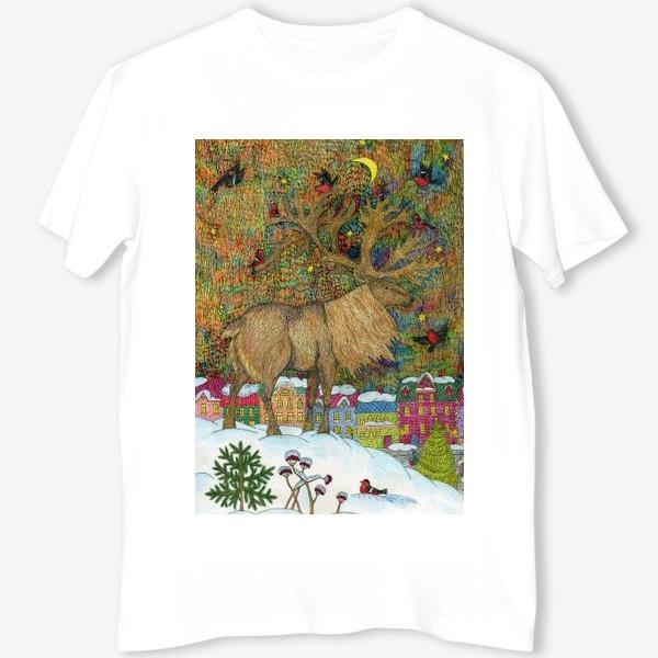 Футболка «Сказочный олень в старом городе»