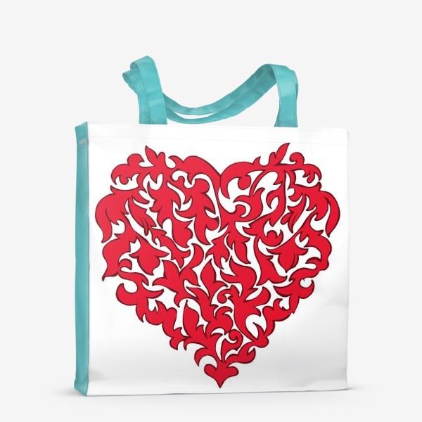 Сумка-шоппер «Красное сердце.»