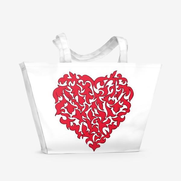 Пляжная сумка «Красное сердце.»