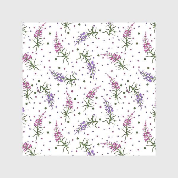 Скатерть «Лесные цветы, паттерн на белом фоне»
