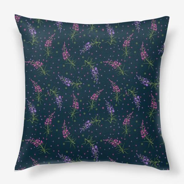 Подушка «Лесные цветы, паттерн на тёмном фоне»