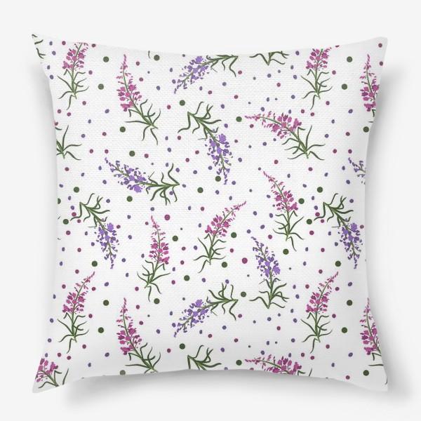 Подушка «Лесные цветы, паттерн на белом фоне»