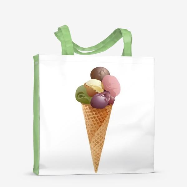 Сумка-шоппер «Мороженое шарики в конусе.»
