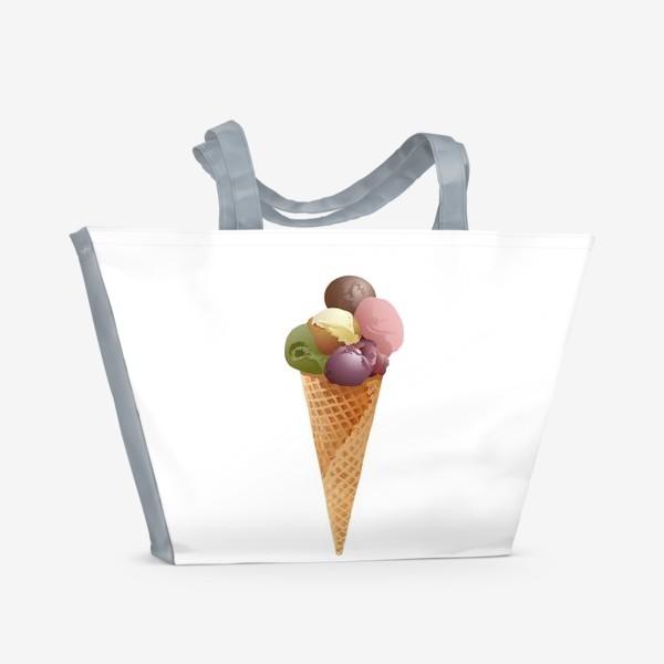 Пляжная сумка «Мороженое шарики в конусе.»