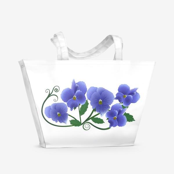 Пляжная сумка «Цветочки.»