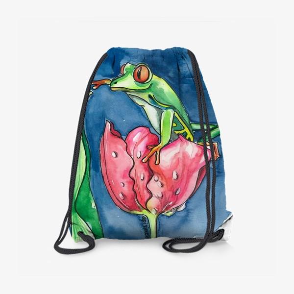 Рюкзак «Лягушка и тюльпан»