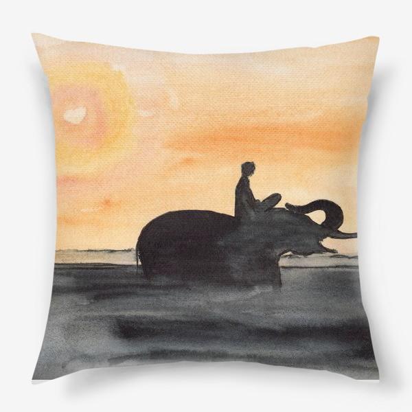 Подушка «Слон и человек. Силуэт на закате. Любовь проста...»