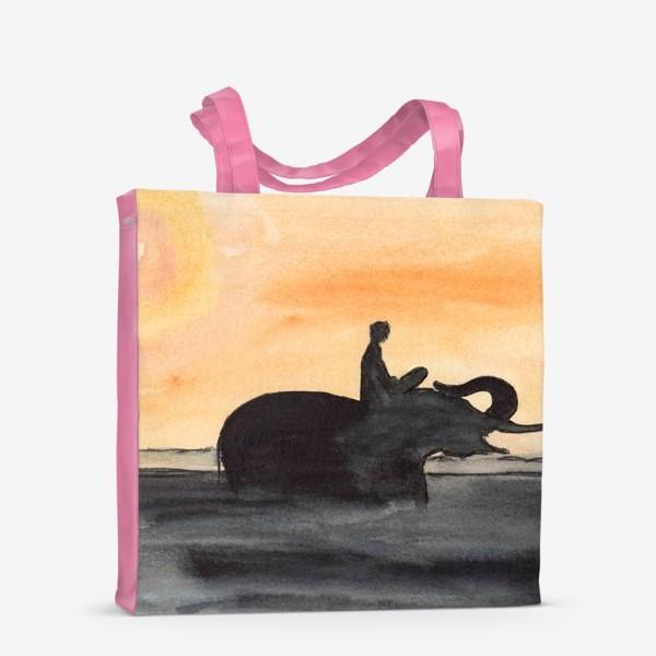 Сумка-шоппер «Слон и человек. Силуэт на закате. Любовь проста...»