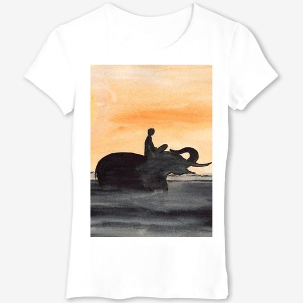 Футболка «Слон и человек. Силуэт на закате. Любовь проста...»