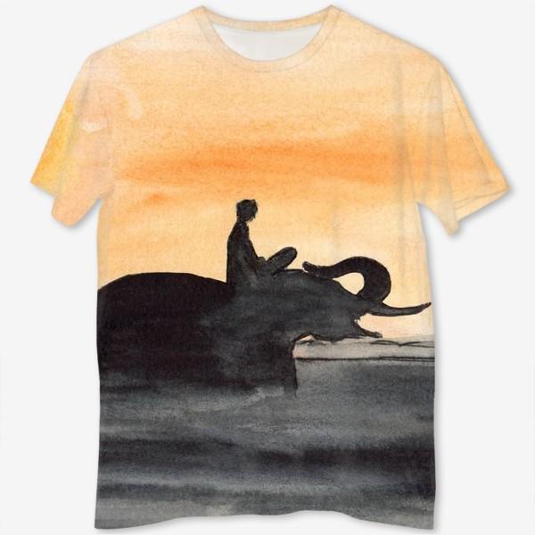 Футболка с полной запечаткой «Слон и человек. Силуэт на закате. Любовь проста...»