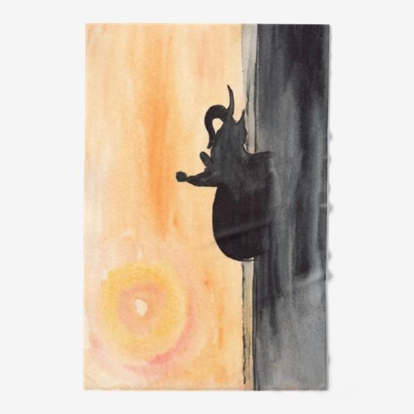 Полотенце «Слон и человек. Силуэт на закате. Любовь проста...»