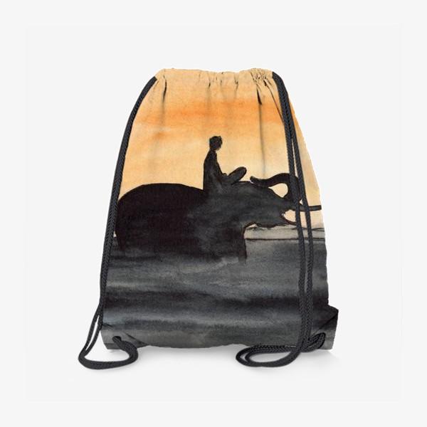 Рюкзак «Слон и человек. Силуэт на закате. Любовь проста...»