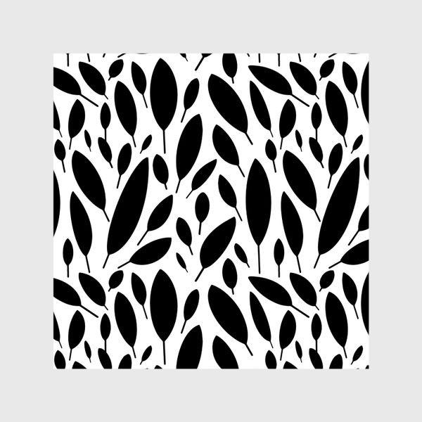 Шторы «Черно-белый узор из листьев в Скандинавском стиле»