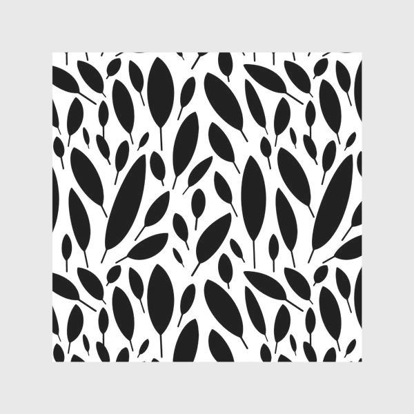 Скатерть «Черно-белый узор из листьев в Скандинавском стиле»