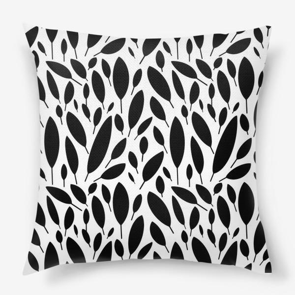 Подушка «Черно-белый узор из листьев в Скандинавском стиле»