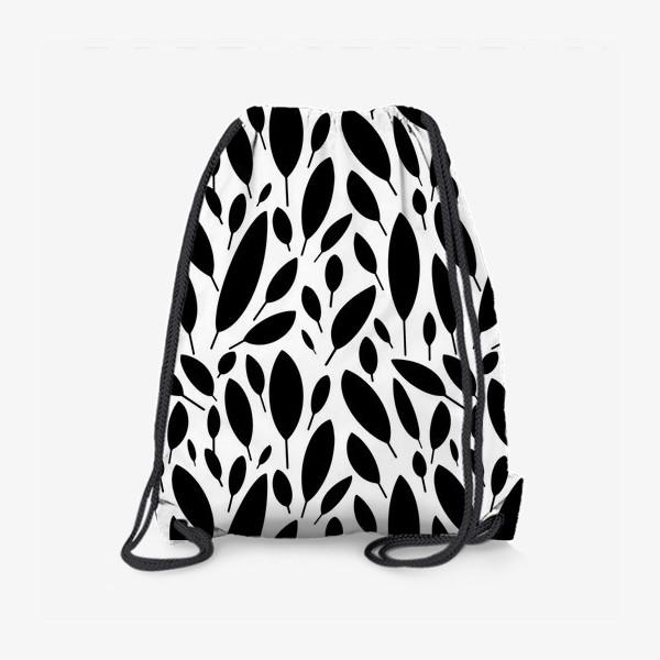 Рюкзак «Черно-белый узор из листьев в Скандинавском стиле»