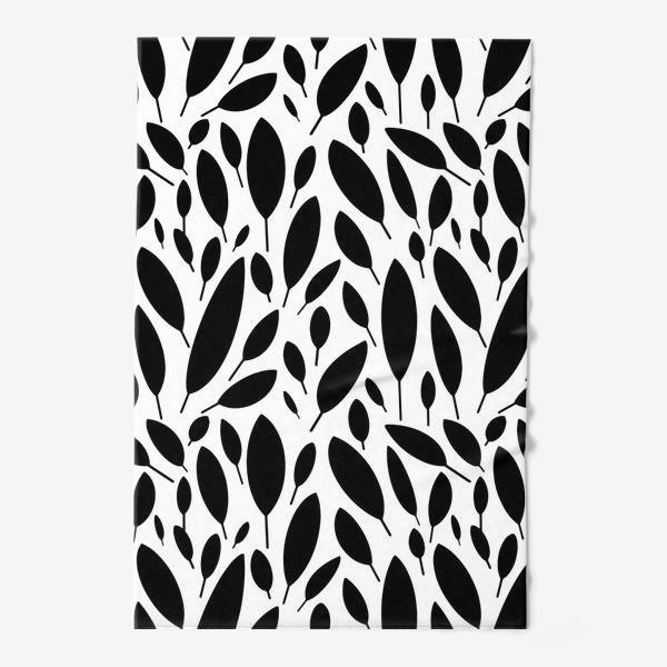 Полотенце «Черно-белый узор из листьев в Скандинавском стиле»