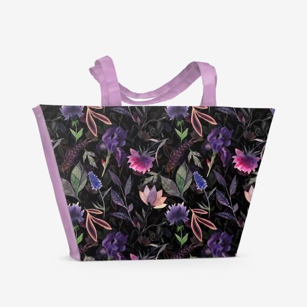 Пляжная сумка «Flower pattern. Black»