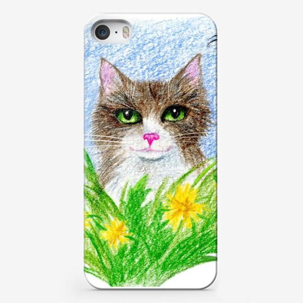 Чехол iPhone «Кот с цветами»
