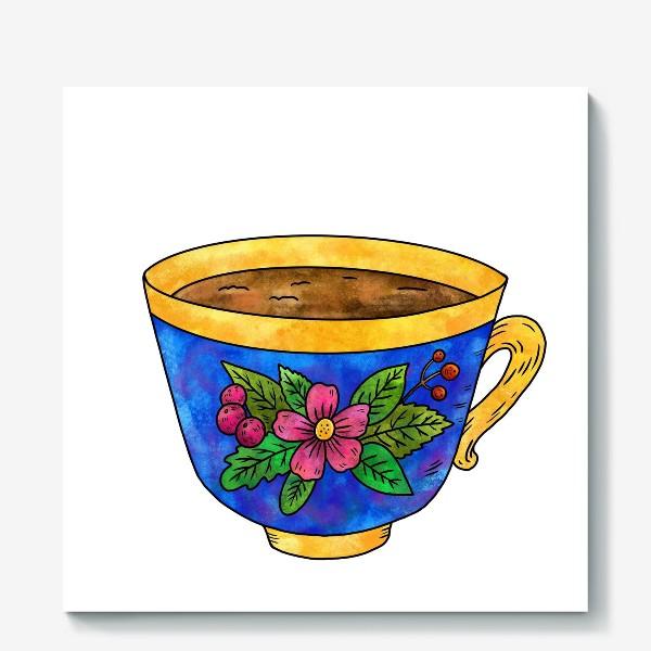 Холст «Синяя чашка с цветами»