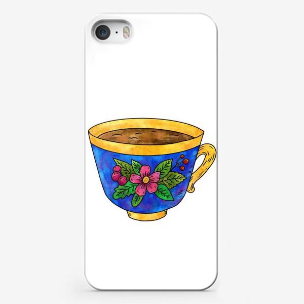Чехол iPhone «Синяя чашка с цветами»