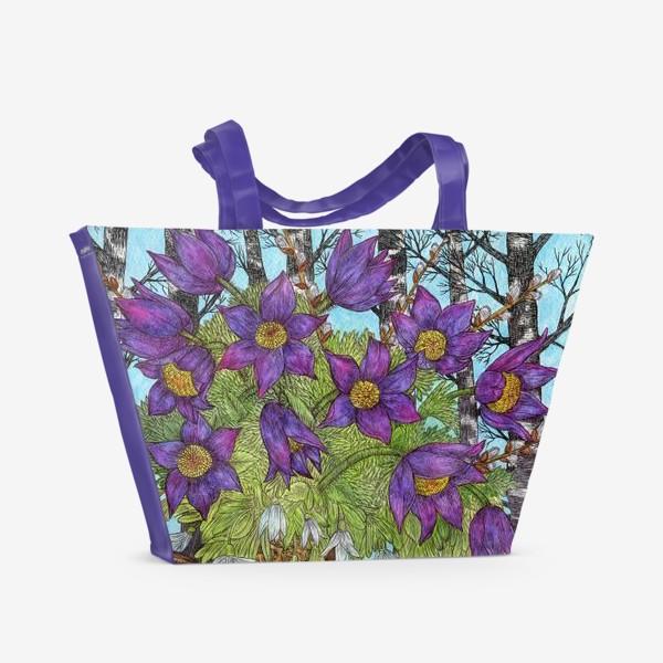 Пляжная сумка «Лесной букет и хомяк»