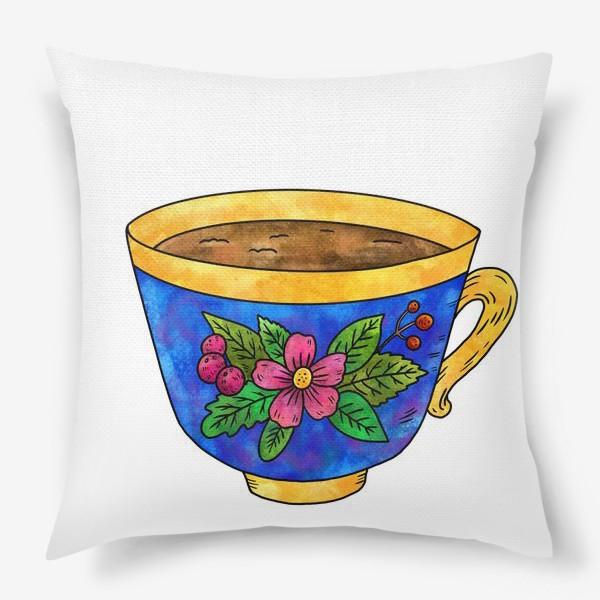 Подушка «Синяя чашка с цветами»