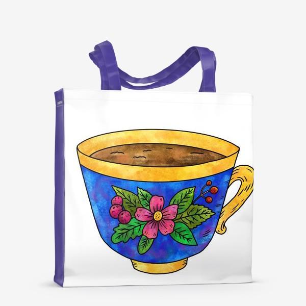 Сумка-шоппер «Синяя чашка с цветами»