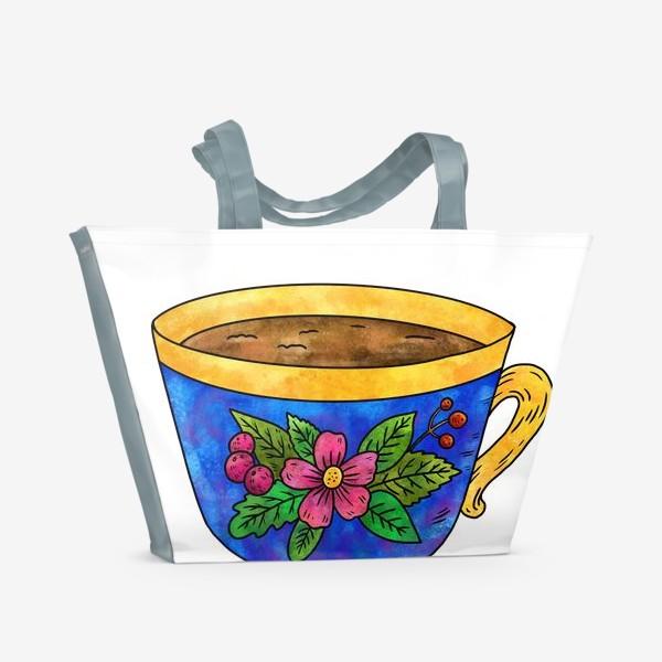 Пляжная сумка «Синяя чашка с цветами»
