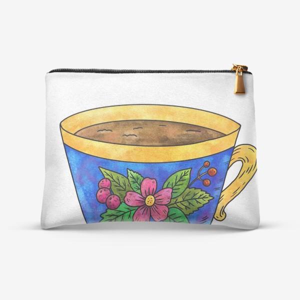 Косметичка «Синяя чашка с цветами»